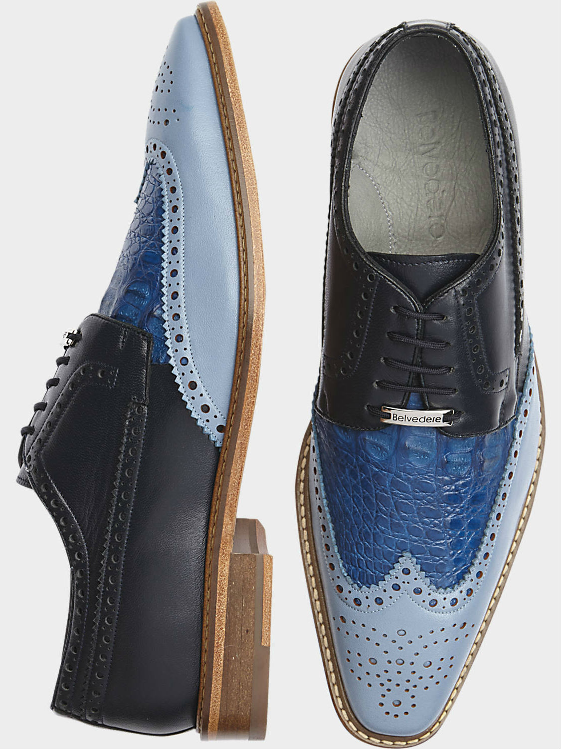 Belvedere Ciro Blue Wingtip Dress Shoes